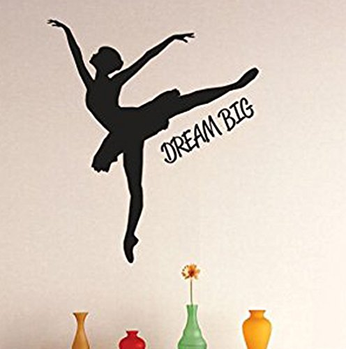 Design with Vinyl 3 Zzz 635 Decor Item Dream Big Ballerina Dancer Girls Kids Teen Quote Wall Decal Sticker, 20 x 20-Inch, Black
