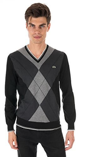 Lacoste TRICOT V-Neck Sweater BLACK/MOUSETRAP GREY-STON AH3608-51-8WJ
