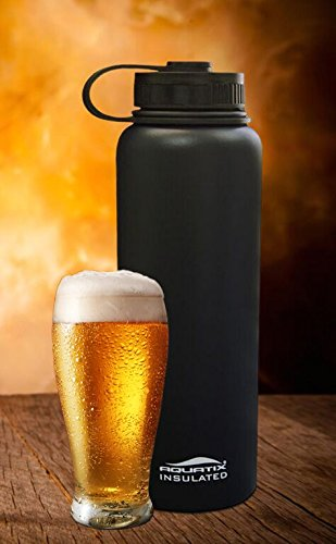Aquatix Insulated Beer Growler Black Bottle Guzzler Double Wall Insulation 24 Hours Cold 12 Hours Hot 40 Ounce Twist Off (Cool Beer Growler compare prices)