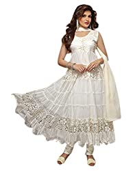 Aaryan Women's Semi-Stitched Anarkali Dress Material (KH-White01_White_Free Size)