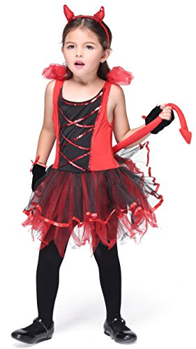 Girlscos Girl's Fairy Costume 2 Piece Suit Kids Halloween Cosplay Costumes Medium Red (Halloween Costum Ideas)