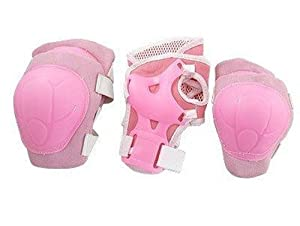 Como Children Pink Wrist Elbow Knee Pad Sports Support Set
