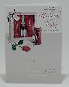Ruby Wedding Gift Ideas For Husband : For My Wonderful Husband With Love On Our Ruby Wedding Anniversary ...