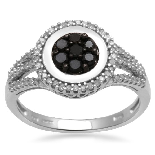 Sterling Silver Black and White Diamond Oval Shape Ring (1/4 cttw, I-J Color, I3 Clarity), Size 7