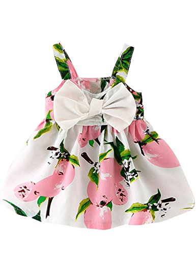 NNJXD Baby Girl Birthday Party Printed Sling Dress for Newborn and Toddler Size 0-6 Months Light Pink
