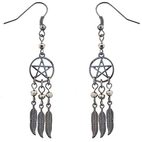 Lux accessori ematite perline Pentagram Dreamcatcher Piuma Orecchini Pendenti