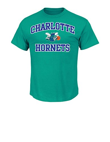 NBA Charlotte Hornets Men's Majestic Athletics Heart and Soul Short Sleeve Crew Neck T-Shirt, Small, New Aqua