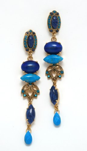 Amaro Jewelry Studio 'Inspiration' Collection 24K Yellow Gold Plated Amazing Dangle Earrings with Sodalite, Amazonite, Chrysocolla, Turquoise, Lapis, Swarovski Crystal Accents and Tear Drop Charms