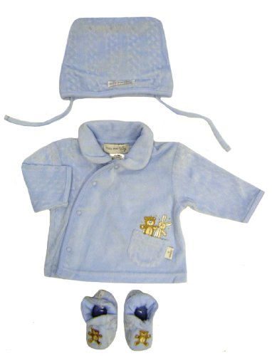 Max and Tilly Baby Boy Soft Velour Jacket, Hat and Booties Matching Pale Blue Set 3-6 months