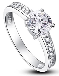 Sterling Silver 925 1ct CZ Crystal Rhodium Plated Solitaire Eternity Engagement Wedding Round Cut Sparkling Fine Ring with PreciousBags Dust Bag - UK Size M