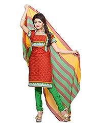 Parisha Latest Collection of Printed Suits in Semi Cotton Fabric & in attractive Red & Orange Color