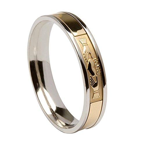 Boru Mens Signature Claddagh Irish Wedding Band Silver 10k Gold Cladd