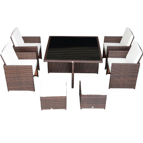 Outsunny 9-Piece Outdoor PE Rattan Wicker Nesting Patio Dining Table Set photo