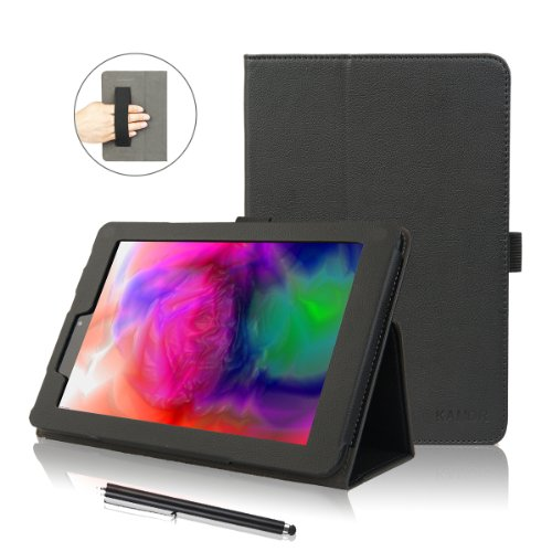 Kamor® Odys titan 8 Hülle leder Tasche Etui Schutzhülle case cover zubehör (PU Leder Schutzhülle) Odys tablet 8 zoll Hülle with Stylus(Eingabestift) & stylus holder & hand strap, Automatic Sleep/Wake Function, Built-in 2-view angle for Odys titanium 20 3 cm 8 zoll tablet-pc - Schwarz