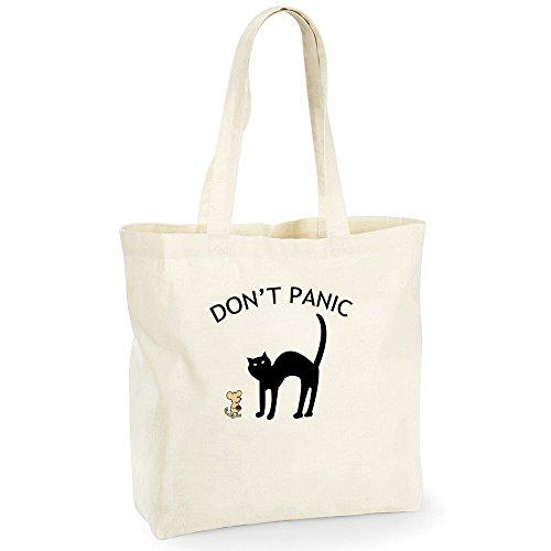 Divertente 027, Don't Panic, Beige NaturaleWestford Mill Maxi bag for life Borsa shopper da spalla riutilizzabile Borsa Tote in cotone con Motivo Colorato.Capacità-18 litres.