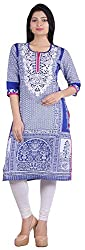 Geroo Women's Cotton Regular Fit Kurta (MKK-15116AZ, Blue, S)