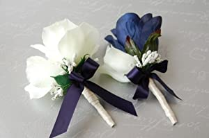 Amazon.com - Navy Blue and Ivory Rose Corsage & Boutonniere Set