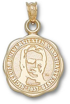 Marshall Thundering Herd 5 8 Seal Pendant - 14KT Gold Jewelry by Logo Art