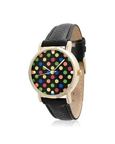 Olivia Pratt Women's 7951M Black/Multicolor Polka Dot Leather Watch