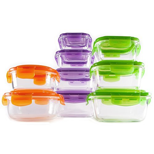Manorware- 18 Piece Glass Container Set- Oven Safe- Assorted Sizes- Airtight and Leakproof- SnapLock- Reusable- Dishwasher Safe- Microwaveable- Square, Round, Rectangular (Oven Safe Glass Jars compare prices)