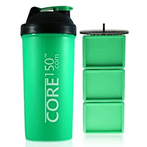 Core150® Green 35oz Best Protein Shaker Bottle with Easy Stack removable storage compartments