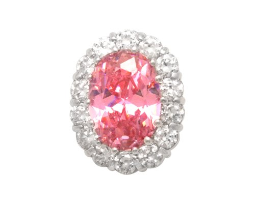 JanKuo Jewelry Silver Tone Oval Shape Cubic Zirconia Pink October Birthstone French Clip Earrings Ship in Gift Box.
