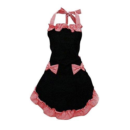 Comemall Women Bowknot Chic Cute Flirty Bib Apron Dress Kitchen Cooking Apron with Pocket (Black+Red)