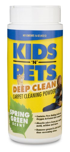 KIDS N PETS Deep Clean Carpet Cleaning Powder, 16-Ounce, Spring Green
