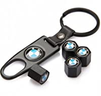 Bmw Black Tire Stem Valve Caps And Black Keychain Combo Set from LH