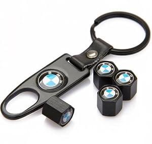 BMW Black Tire Stem Valve Caps and Black Keychain Combo Set