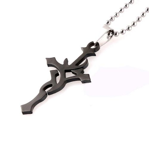 GL Fashions Twisted Sword Cross Pendant Black with Black Leather Chain Cord - Black - One Size