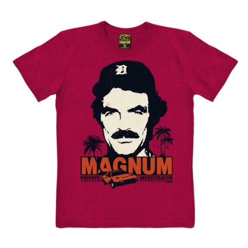 T-shirt Magnum - maglia Magnum, P.I. - Il investigatore - Cult del film - maglietta girocollo - rosso - t-shirt originale della marca TRAKTOR®, taglia L