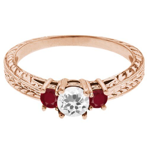 0.61 Ct Round White Topaz Red Ruby 14K Rose Gold 3-Stone Ring