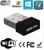 #9: Roboster Mini Wi-Fi Receiver 300Mbps, 2.4GHz, 802.11b/g/n USB 2.0 Wireless Wi-Fi Network Adapter
