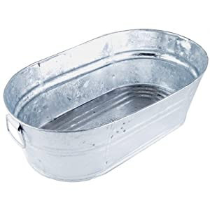 Galvanized Oval Wash Tub, 3.7 Gal