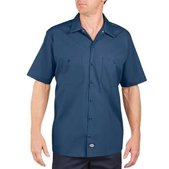 Dickies Occupational Workwear LS535NV Polyester/ Cotton Men's Short Sleeve Industrial Work Shirt, Navy Blue