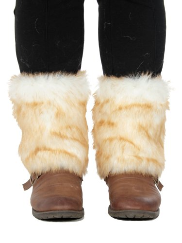 Us Shipping New Women Faux Fur Leg Warmers Boot Cuff Topper Muffs, Christmas Day, Gray