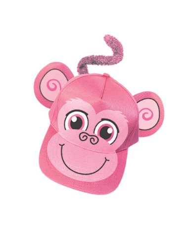 Adults Kids Adjustable Pink Monkey Animal Zoo Baseball Cap Hat Costume Accessory
