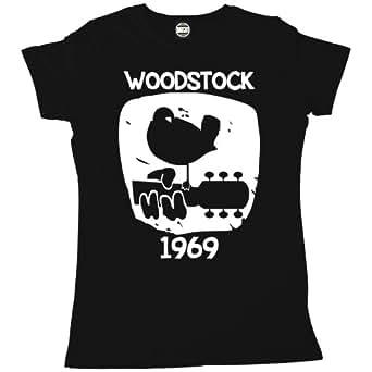 Batch1 Women's Woodstock 1969 Vintage Printed Classic Music Festival T-Shirt, Black - S