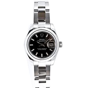 Rolex Ladys New Style Heavy Band Stainless Steel Datejust Model 179160 Oyster Band Steel Smooth Bezel Bezel Black Stick Dial