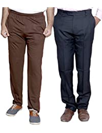 Indistar Mens Formal Trousers With Men's Premium Cotton Lower (Length Size -40) With 1 Zipper Pocket And 1 Open... - B01GEIOJYE
