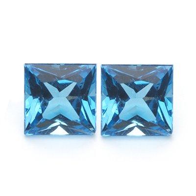 1.50-1.95 Cts of AAA 5 mm Princess Matching Loose Swiss Blue Topaz ( 2 pcs set ) Gemstones