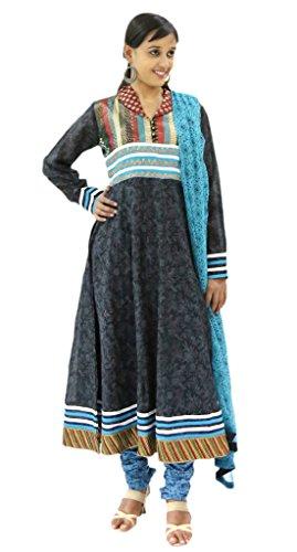 Missprint Black Chanderi Cotton Anarkali Churidar Kameez