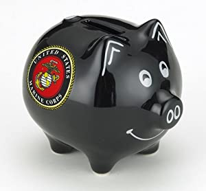 United States Marine Corps Piggy Bank Safe Stoneware Savings Money Cash Box USMC with Coin Slot in Gift Box