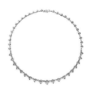18k White Gold 11.57 Dwt Rough Diamond Whtie Graduated Round Fancy - 16 Inch Necklace - JewelryWeb