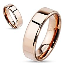 buy Str-0056 Rose Gold Ip Over Stainless Steel Beveled Edge Flat Band Ring; Comes With Free Gift Box (8)