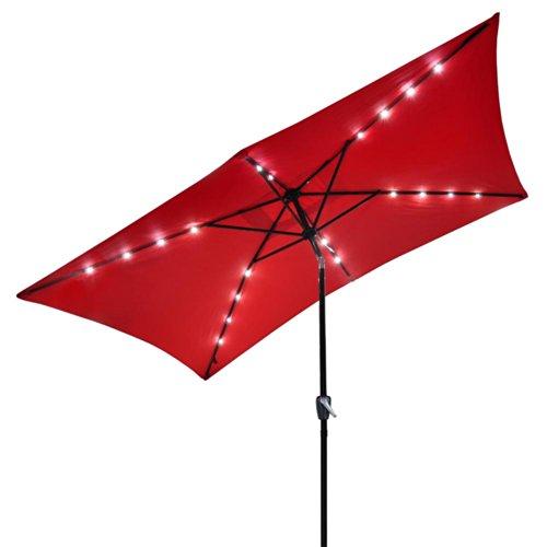 Solar LED 10 Ft Tilt Outdoor Rectangular Umbrella (RED)