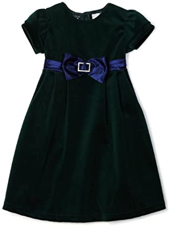 So La Vita Girls 2-6X Velvet Dress with Sash, Green, 5
