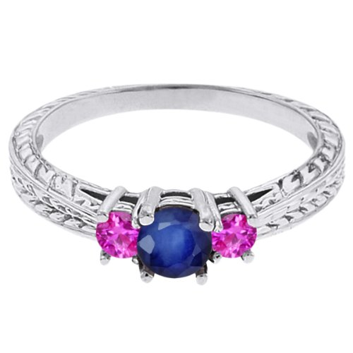 0.62 Ct Round Blue Sapphire Pink Sapphire 14K White Gold 3-Stone Ring