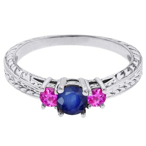 0.62 Ct Round Blue Sapphire Pink Sapphire 18K White Gold 3-Stone Ring